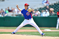 Tennessee Smokies starting pitcher Michael Rucker (28) delivers a pitch during a game against the Birmingham Barons at Smokies Stadium on May 6, 2018 in Kodak, Tennessee. The Smokies defeated the Barons 6-2. (Tony Farlow/Four Seam Images)