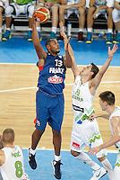 "Boris Diaw of France in action during European basketball championship ""Eurobasket 2013"" quarter-final basketball game between Slovenia and France in Stozice Arena in Ljubljana, Slovenia, on September 18. 2013. (credit: Pedja Milosavljevic  / thepedja@gmail.com / +381641260959)"