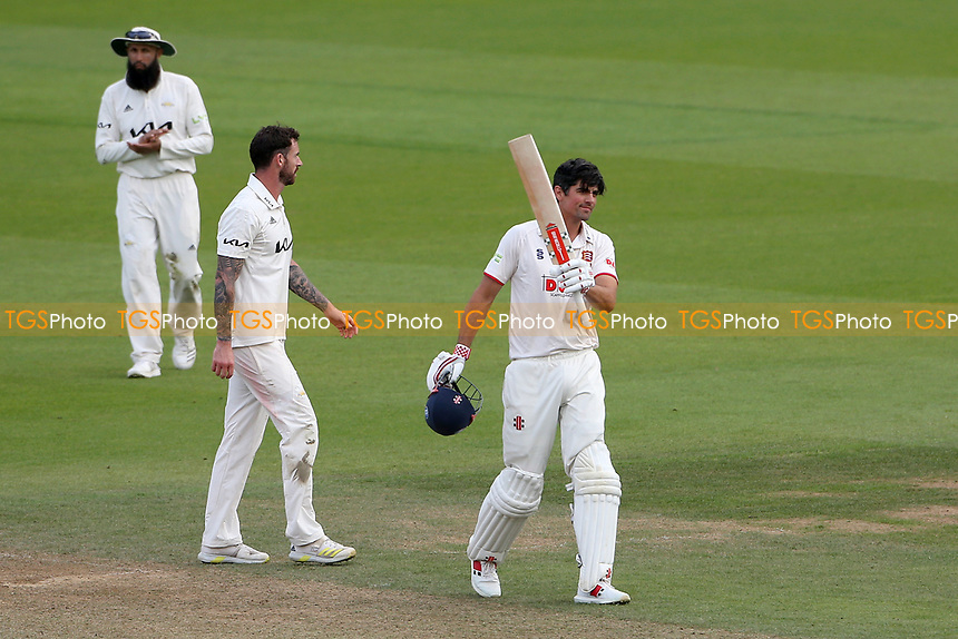 Sir Alastair Cook of Essex raises his bat after reaching his century during Surrey CCC vs Essex CCC, LV Insurance County Championship Division 2 Cricket at the Kia Oval on 12th September 2021