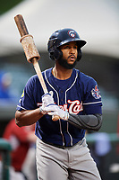 New Hampshire Fisher Cats Richard Urena (4) on deck during a game against the Altoona Curve on May 11, 2017 at Peoples Natural Gas Field in Altoona, Pennsylvania.  Altoona defeated New Hampshire 4-3.  (Mike Janes/Four Seam Images)