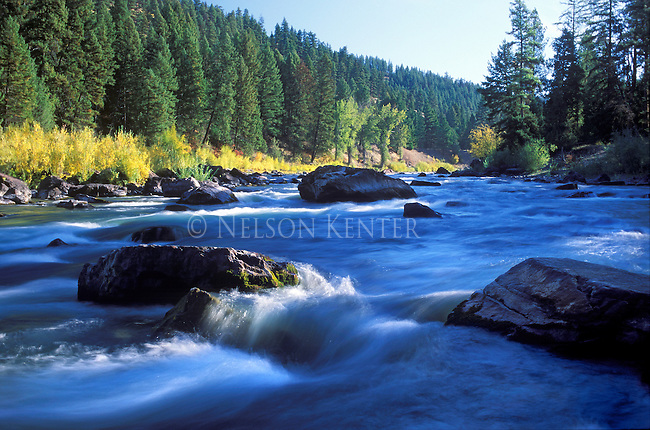 Waters of the Blackfoot River flow through Thibodeau Rapids at very low flows in autumn