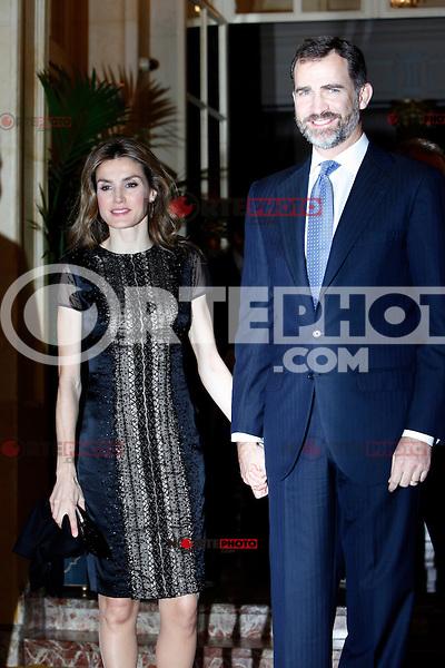 Prince Felipe of Spain and Princess Letizia of Spain attend the 'Francisco Cerecedo Journalism Award' ceremony at the Ritz Hotel in Madrid. November 20, 2012. (ALTERPHOTOS/Caro Marin) /NortePhoto