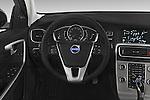 Car pictures of steering wheel view of a 2015 Volvo V60 Summum 5 Door Wagon