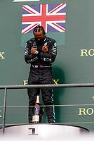 30th August 2020, Spa Francorhamps, Belgium, F1 Grand Prix of Belgium , Race Day;  44 Lewis Hamilton GBR, Mercedes-AMG Petronas Formula One Team celebrates his win on the podium