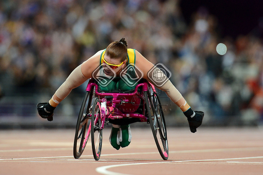 Rosemary Little AUS competes in the Women's 200m - T34<br /> Athletics (Thursday 6th Sept) - Olympic Stadium<br /> Paralympics - Summer / London 2012 <br /> London, England 29 Aug - 9 Sept<br /> © Sport the library/Courtney Crow
