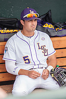 LSU Tigers outfielder Chris Sciambra (5) relaxes in the dugout before the NCAA College World Series game against the TCU Horned Frogs on June 14, 2015 at TD Ameritrade Park in Omaha, Nebraska. TCU defeated LSU 10-3. (Andrew Woolley/Four Seam Images)