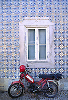 MOTOR SCOOTER & TILED WALL in TAVIRA, one of the ALGARVES most charming cities - PORTUGAL.