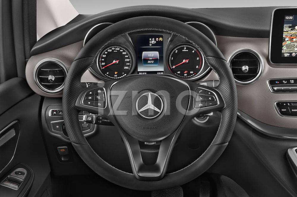 Car pictures of steering wheel view of a 2015 Mercedes Benz V-CLASS AVANTGARDE 5 Door Minivan 2WD Steering Wheel