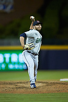 Gwinnett Braves relief pitcher Thomas Burrows (49) in action against the Durham Bulls at Durham Bulls Athletic Park on April 20, 2019 in Durham, North Carolina. The Bulls defeated the Braves 3-2 in game two of a double-header. (Brian Westerholt/Four Seam Images)
