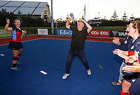 Tasman celebrate victory after winning the women's final of National Senior Hockey Tournament final between Tasman and Tauranga BOP at Blake Park in Tauranga, New Zealand on Saturday, 21 September 2019. Photo: Simon Watts / www.bwmedia.co.nz