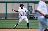 Detroit Tigers second baseman Wenceel Perez (80) throws to first base during a Florida Instructional League game against the Pittsburgh Pirates on October 16, 2020 at Joker Marchant Stadium in Lakeland, Florida.  (Mike Janes/Four Seam Images)
