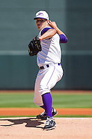 Cameron Bayne #13 of the Winston-Salem Dash delivers a pitch to the plate against the Kinston Indians at BB&T Ballpark on April 17, 2011 in Winston-Salem, North Carolina.   Photo by Brian Westerholt / Four Seam Images