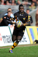 Christian Wade of London Wasps in action during the Aviva Premiership match between London Wasps and Exeter Chiefs at Adams Park on Sunday 21st April 2013 (Photo by Rob Munro)