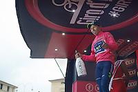 Pro Secco champagne for pink leader Nairo Quintana (COL/Movistar)<br /> <br /> 2014 Giro d'Italia <br /> stage 17: Sarnonico - Vittori Veneto (208km)