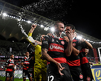 1st May 2021; Bankwest Stadium, Parramatta, New South Wales, Australia; A League Football, Western Sydney Wanderers versus Sydney FC; Mitch Duke of Western Sydney Wanderers enjoys the victory after the final whistle with Tate Russell of Western Sydney Wanderers