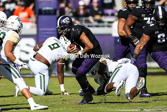 TCU Horned Frogs quarterback Kenny Hill (7) in action during the game between the Baylor Bears and the TCU Horned Frogs at the Amon G. Carter Stadium in Fort Worth, Texas.