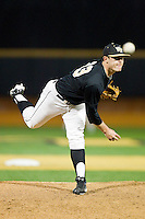 Wake Forest Demon Deacons relief pitcher Will Finley (33) in action against the North Carolina Tar Heels at Wake Forest Baseball Park on March 9, 2013 in Winston-Salem, North Carolina.  The Tar Heels defeated the Demon Deacons 20-6.  (Brian Westerholt/Four Seam Images)