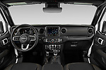 Stock photo of straight dashboard view of 2021 JEEP Wrangler-Unlimited High-Altitude-4XE 5 Door SUV Dashboard
