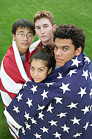 Diverse patriotic youth in America including Vietnamese, Anglo, Hispanic and Black.