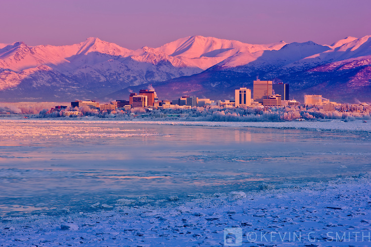 The Anchorage skyline just after dawn as seen from Earthquake park, winter, Southcentral Alaska, USA.