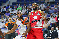 13th October 2021; Wizink Center; Madrid, Spain; Turkish Airlines Euroleague Basketball; game 3; Real Madrid versus AS Monaco; Guerschon Yabusele (Real Madrid Baloncesto) and Will Thomas (AS Monaco) tussle for the rebound