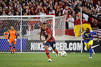 Juan Agudelo (18) of the United States. The men's national team of the United States (USA) was defeated by Ecuador (ECU) 1-0 during an international friendly at Red Bull Arena in Harrison, NJ, on October 11, 2011.