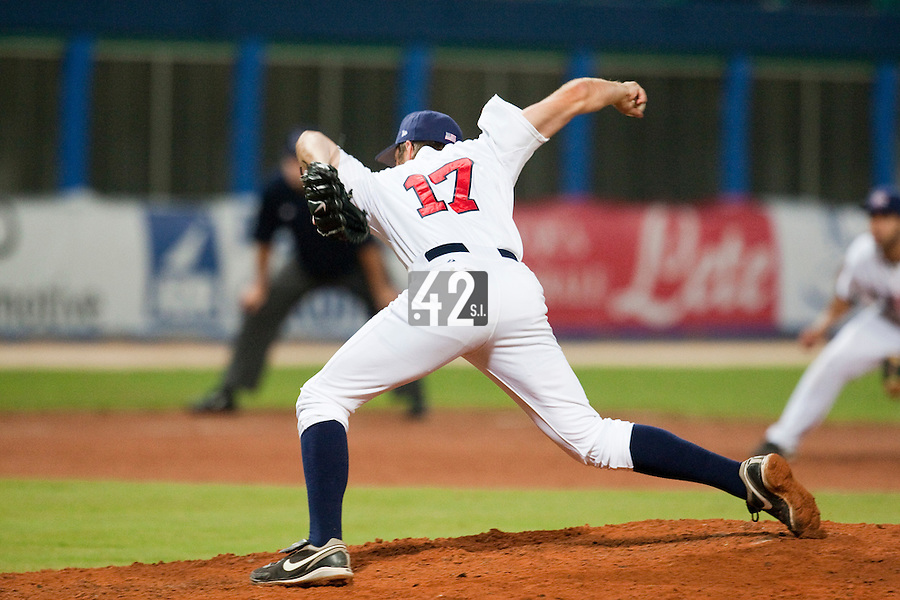 24 September 2009: Ehren Wasserman of Team USA pitches against Cuba during the 2009 Baseball World Cup final round match won 5-3 by Team USA over Cuba, in Nettuno, Italy.