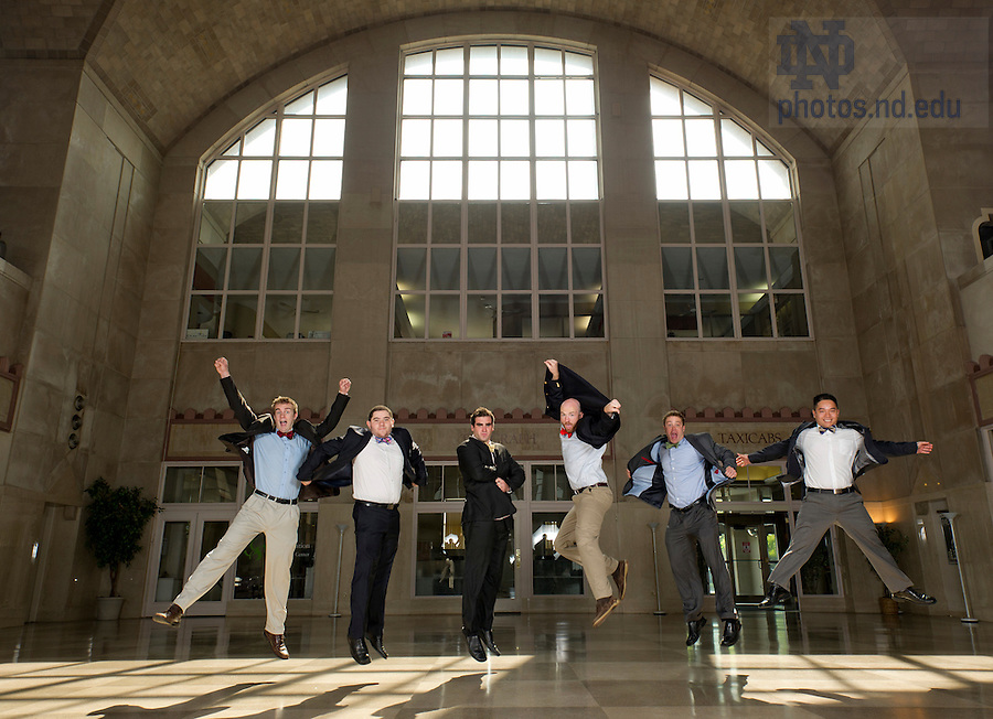 May 30, 2013; (name - left to right) Alan Barrett, Santiago Garces, Brendan Daly, Daniel Lewis, Andrew Wiand and Khoa Huynh of enFocus in Union Station where their office is located in South Bend. Photo by Barbara Johnston/University of Notre Dame