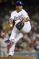 08/9/11 Los Angeles, CA: Los Angeles Dodgers starting pitcher Hiroki Kuroda #18 during an MLB game against the Philadelphia Phillies played at Dodger Stadium. The Phillies defeated the Dodgers 5-3.