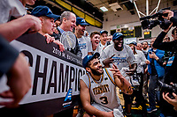 16 March 2019: University of Vermont Catamount Forward Anthony Lamb, a Junior from Toronto, Ontario, celebrates a victory against the UMBC Retrievers in the America East Championship Game at Patrick Gymnasium in Burlington, Vermont. Lamb was named the Most Outstanding Player for the second time in his career with a game-high 28 points and nine rebounds as the Catamounts defeated the Retrievers 66-49, avenging their loss against the same team in last years' Championship Game. Mandatory Credit: Ed Wolfstein Photo *** RAW (NEF) Image File Available ***
