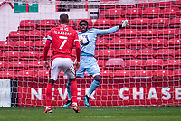 3rd October 2020; City Ground, Nottinghamshire, Midlands, England; English Football League Championship Football, Nottingham Forest versus Bristol City; Brice Samba of Nottingham Forest saves the ball as it hits his chest