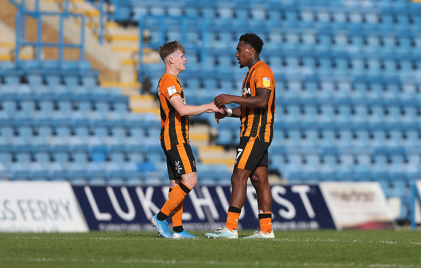 Hull City's Mallik Wilks and Keane Lewis-Potter at the final whistle<br /> <br /> Photographer Rob Newell/CameraSport<br /> <br /> The EFL Sky Bet League One - Gillingham v Hull City - Saturday September 12th 2020 - Priestfield Stadium - Gillingham<br /> <br /> World Copyright © 2020 CameraSport. All rights reserved. 43 Linden Ave. Countesthorpe. Leicester. England. LE8 5PG - Tel: +44 (0) 116 277 4147 - admin@camerasport.com - www.camerasport.com