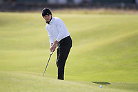 3rd October 2021; The Old Course, St Andrews Links, Fife, Scotland; European Tour, Alfred Dunhill Links Championship, Fourth round; Lead singer with the Vamps, Brad Simpson putts on the third hole during the final round of the Alfred Dunhill Links Championship on the Old Course, St Andrews