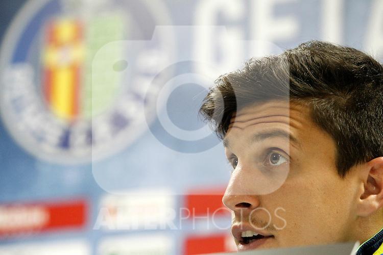 Getafe's Santiago Vergini in press conference after La Liga match. February 14,2016. (ALTERPHOTOS/Acero)