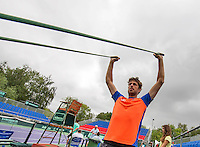Moscow, Russia, 14 th July, 2016, Tennis,  Davis Cup Russia-Netherlands, Dutch team practise, Robin Haase (NED) warming up<br /> Photo: Henk Koster/tennisimages.com