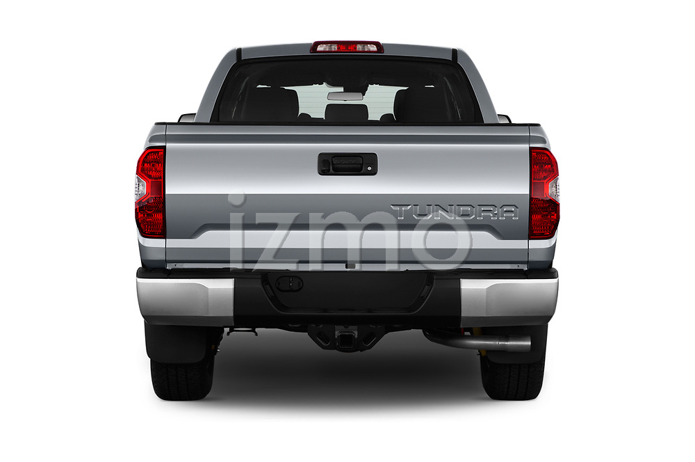 Straight rear view of a 2020 Toyota Tundra SR5 5.7L Crew Max 4WD Short Bed 4 Door Pick Up stock images