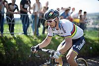 Peter Sagan (SVK/Tinkoff) up the infamous Koppenberg<br /> <br /> 100th Ronde van Vlaanderen 2016