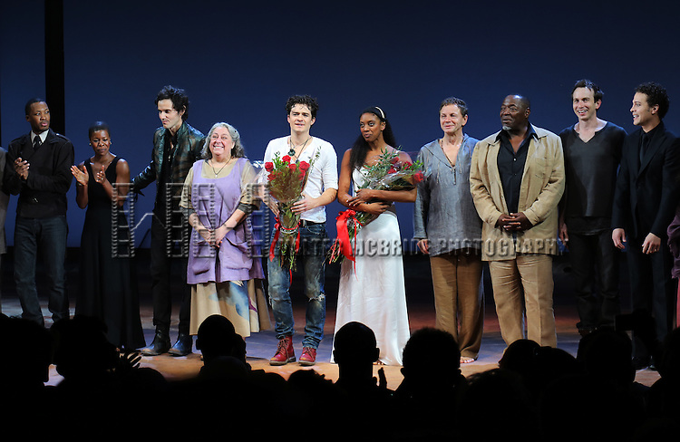 Corey Hawkins, Roslyn Ruff, Christian Camargo, Jayne Houdyshell, Orlando Bloom, Condola Rashad, Brent Carver, Chuck Cooper, Conrad Kemp and Justin Guarini during the Broadway Opening Night Performance Curtain Call for 'Romeo and Juliet' at the Richard Rodgers Theatre in New York City on September 19, 2013.