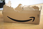 Amazon. Pergine Valsugana, Italy on November 24, 2020. A  destroyed Amazon Prime Parcel Box