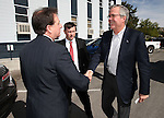 Former Lt. Gov. Brian Krolicki, left, greets former Florida Gov. Jeb Bush outside a town hall meeting in Reno, Nev., on Wednesday, May 13, 2015.  <br /> Photo by Cathleen Allison