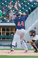Jim Murphy (44) of the Lehigh Valley IronPigs at bat against the Charlotte Knights at BB&T Ballpark on May 8, 2014 in Charlotte, North Carolina.  The IronPigs defeated the Knights 8-6.  (Brian Westerholt/Four Seam Images)