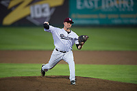 Idaho Falls Chukars starting pitcher C.J. Eldred (33) delivers a pitch during a Pioneer League game against the Billings Mustangs at Melaleuca Field on August 22, 2018 in Idaho Falls, Idaho. The Idaho Falls Chukars defeated the Billings Mustangs by a score of 5-3. (Zachary Lucy/Four Seam Images)