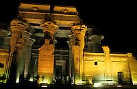 Entrance to The Temple of Kom Ombo, dedicated to the gods Sobek and Haroeris illuminated at night, Kom Ombo, Egypt.
