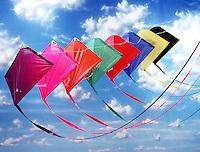 Multi-colored kite in sky