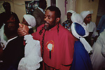 Mount Zion Spiritual Baptist Church.Father Noel at the end of a Sunday church service. 1990s