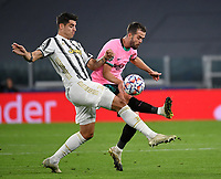 Football Soccer: UEFA Champions League -Group Stage-  Group G - Juventus vs FC Barcellona, Allianz Stadium. Turin, Italy, October 28, 2020.<br /> Juventus' Alvaro Morata (l) in action with Juventus' Miralaem Pjanic (r) during the Uefa Champions League football soccer match between Juventus and Barcellona at Allianz Stadium in Turin, October 28, 2020.<br /> UPDATE IMAGES PRESS/Isabella Bonotto