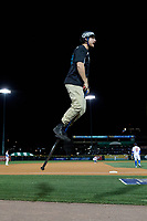 XPOGO, an extreme pogo entertainment group, performs in between innings during a Buffalo Bisons game against the Pawtucket Red Sox on August 31, 2017 at Coca-Cola Field in Buffalo, New York.  Buffalo defeated Pawtucket 4-2.  (Mike Janes/Four Seam Images)