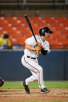Frederick Keys right fielder Cole Billingsley (3) grounds out during the second game of a doubleheader against the Lynchburg Hillcats on June 12, 2018 at Nymeo Field at Harry Grove Stadium in Frederick, Maryland.  Frederick defeated Lynchburg 8-1.  (Mike Janes/Four Seam Images)