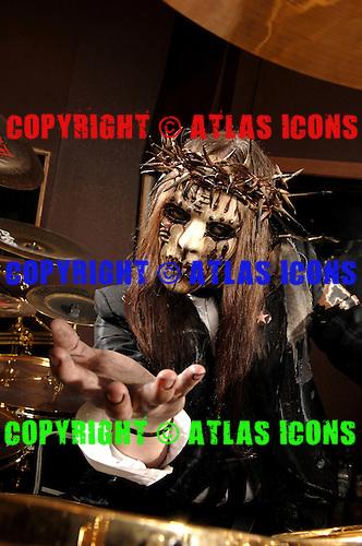Slipknot Drummer Joey Jordison #1, Drum Equipment Studio Portrait Session, .In Desmoines Iowa, on 6-21-2008,.Photo Credit: Eddie Malluk/Atlas Icons.com