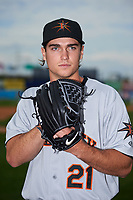 Frederick Keys pitcher Cody Sedlock (21) poses for a photo after the second game of a doubleheader against the Wilmington Blue Rocks on May 14, 2017 at Daniel S. Frawley Stadium in Wilmington, Delaware.  Wilmington defeated Frederick 3-1.  (Mike Janes/Four Seam Images)